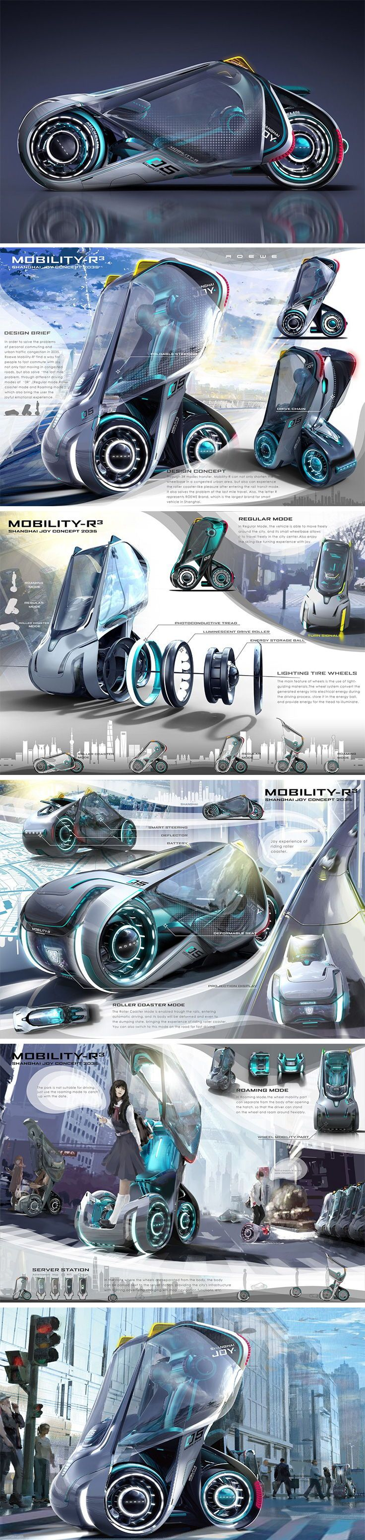 This futuristic Mobility-R3 concept adapts to the user's needs as it transforms between three forms (Regular, Roaming & Roller Coaster mode) of tran…