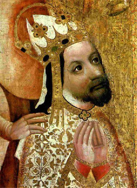 Karl IV. auf dem Votivbild des Prager Erzbischofs Johann Ocko von Wlaschim, um 1370 - gemalt von einem unbekannten Künstler. Zu sehen ist das Kunstwerk in der Nationalgalerie in Prag im Agnes-Kloster.  Bild: hfz