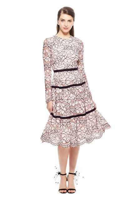 Fl Corded Lace Long Sleeve Seamed Dress Lela Rose Pinterest Dresses And