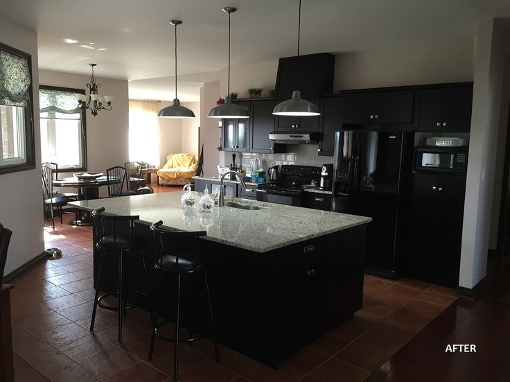 """Tanbark Rd. After:  Cabinets were toned with General Finishes """"Espresso"""" water based stain mixed with High Performance Poly Satin finish."""