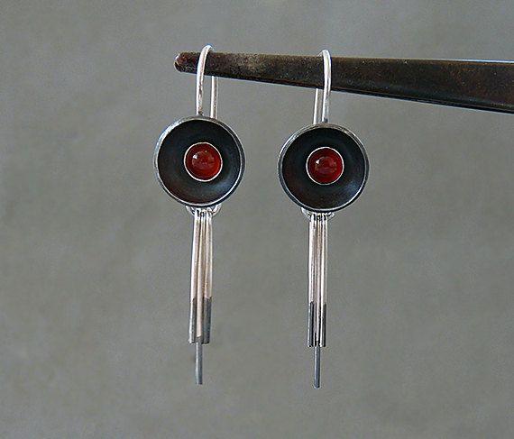 Sterling silver earrings with carnelian  Silver by Kailajewellery