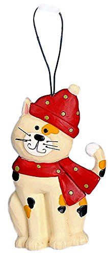 Blossom Bucket Christmas Calico Cat Wearing a Red Hat & Scarf Resin Ornament