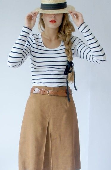 Striped shirts with solid skirts