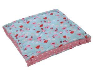Homescapes - Birds and Flowers - 100% Cotton - Large Floor Cushion - Blue Red Pink White - 50 x 50 x 10 cm Square - Indoor - Garden - Dining Chair Booster - Seat Pad Cushion: Amazon.co.uk: Kitchen & Home