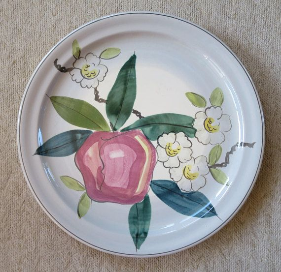 Red Wing Pottery Normandy Apple Pattern Charger MidCentury