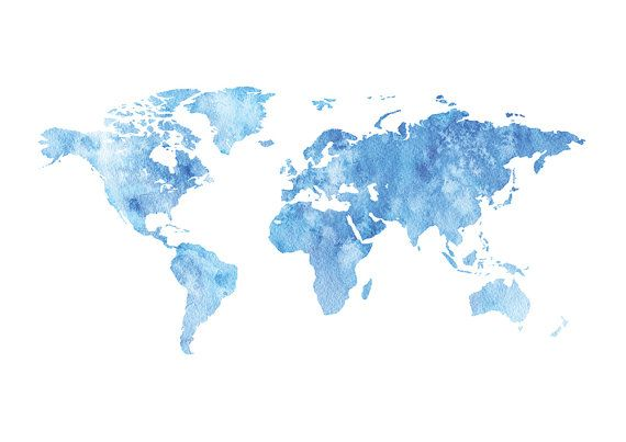 World Map Wall Art Watercolor World Map Printable by PxlNest