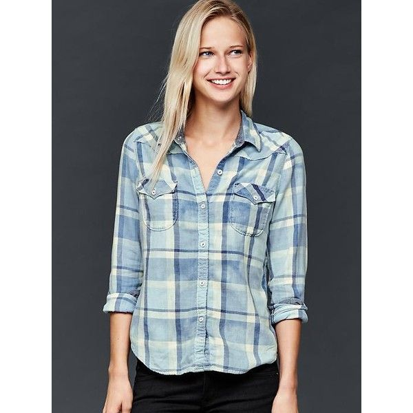 28c55c9688b Gap Women 1969 Slim Western Plaid Shirt ( 60) ❤ liked on Polyvore featuring  tops