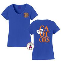 GATORS - Game Day Monogrammed Ladies' V Neck Perfect Tee - FREE SHIP