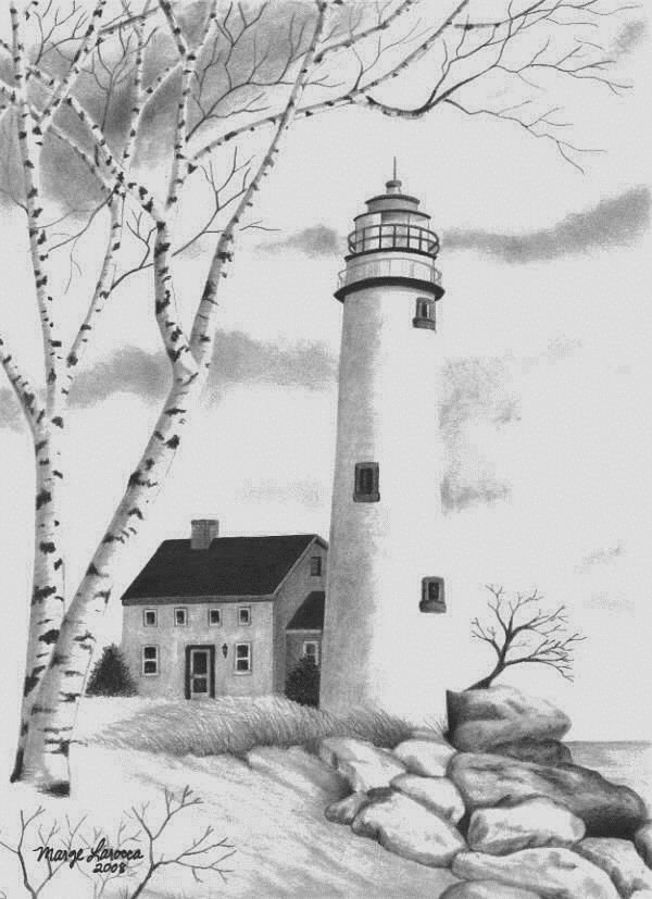 Lighthouse - pencil drawing