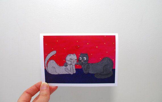 Funny greeting card Animal wedding card Funny cat by artbyasta
