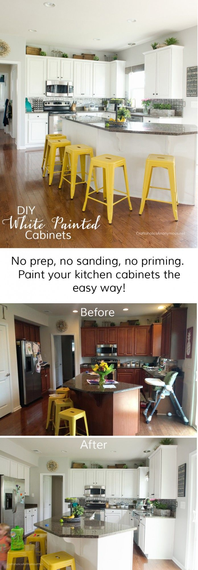 How to paint Kitchen Cabinets white with Chalk Paint || Huge DIY White Kitchen Cabinet makeover that requires no prep. A must read if you want to paint your kitchen cabinets white.