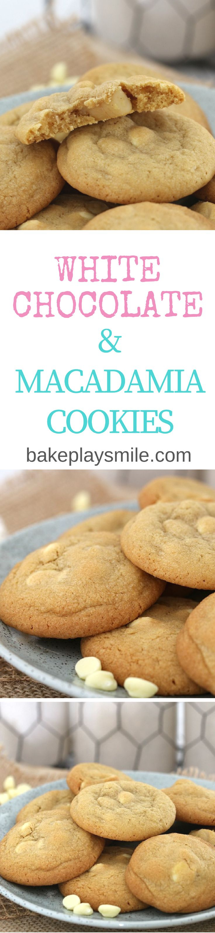 Wait until you try these classic White Chocolate & Macadamia Cookies… they're totally irresistible! Try stopping at just one (it's impossible!!).   #white #chocolate #macadamia #cookies #biscuits #easy #recipe #thermomix #conventional  http://bakeplaysmile.com/white-chocolate-macadamia-cookies/
