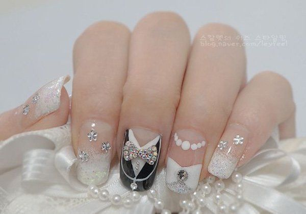 Modern japanese wedding nails with great details the wedding day is