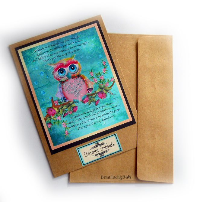 Friendship Greeting Card - Dream Owl - with tags
