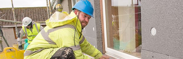 External wall insulation involves fixing a layer of insulation material to the outside wall and then covering it with a special type of render.