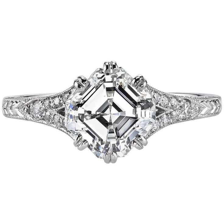 Asscher Cut Diamond Platinum Engagement Ring | See more rare vintage Engagement Rings at https://www.1stdibs.com/jewelry/rings/engagement-rings