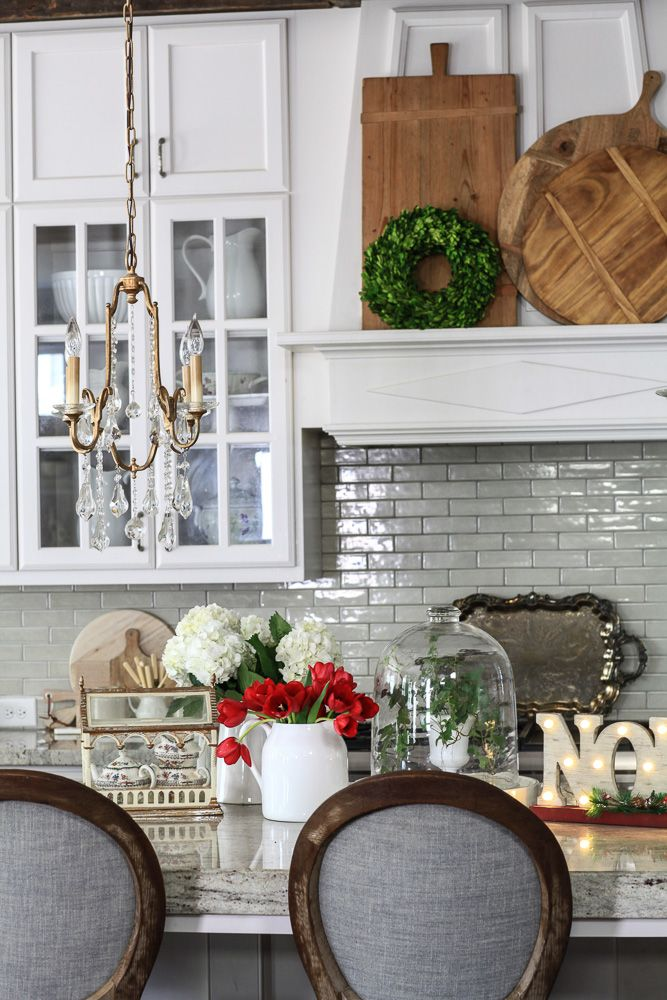 The kitchen decorated for Christmas with a few of my hot picks from Cedar Hill Farmhouse.