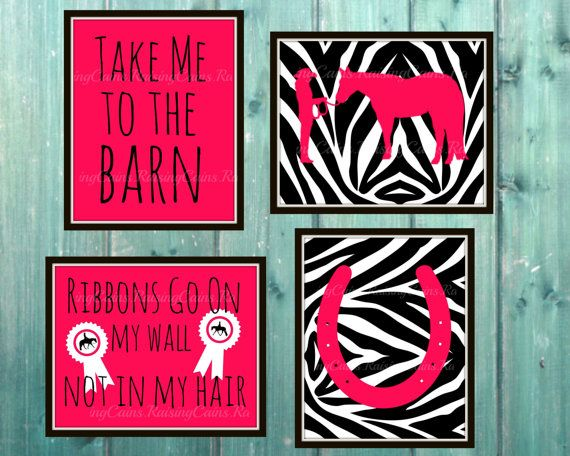 Girls Horse Room Zebra prints Girls Tween Horse by Raising3Cains