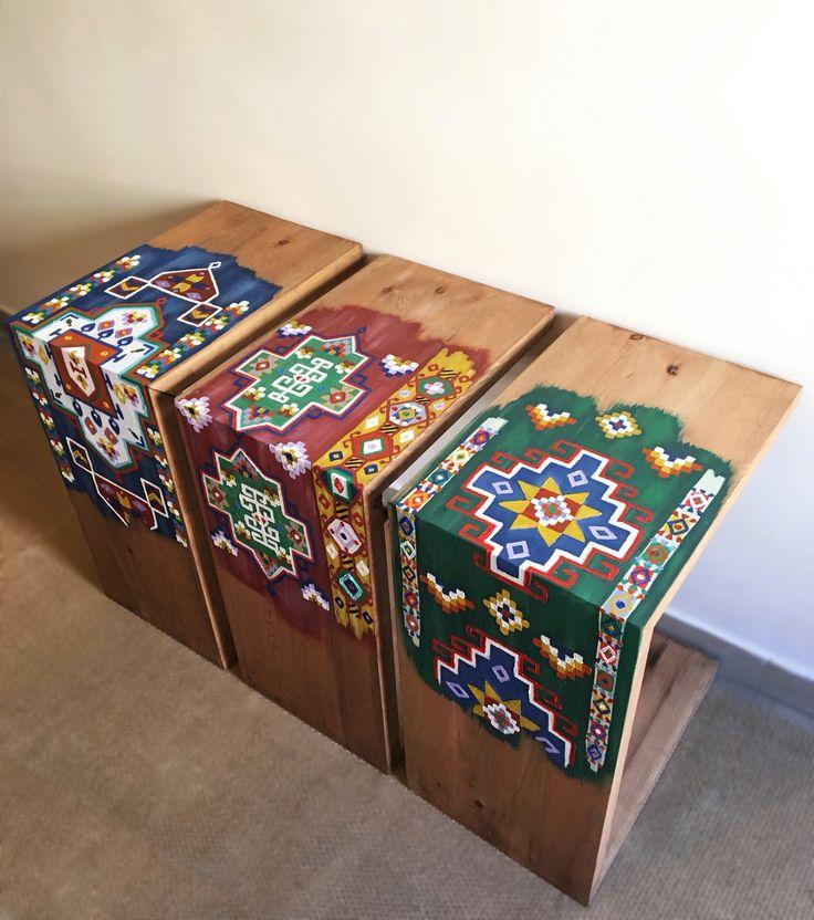 Oil Painted Multifunctional Bisat Stools