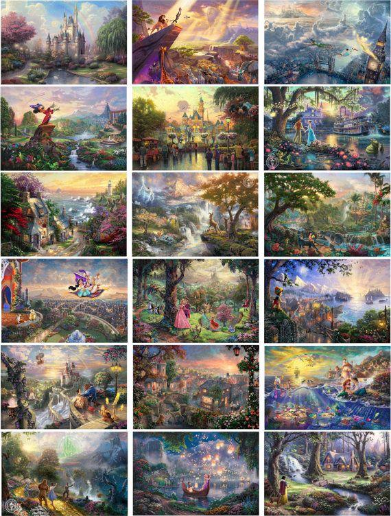 Thomas Kinkade Complete DISNEY Canvas Wrap Set of by TheGraphicMan