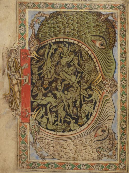 Hellmouth. 'Winchester Psalter' or 'Psalter of Henry of Blois'. Mid-12th century. British Library, MS Cotton Nero C IV, detail of f. 39r.