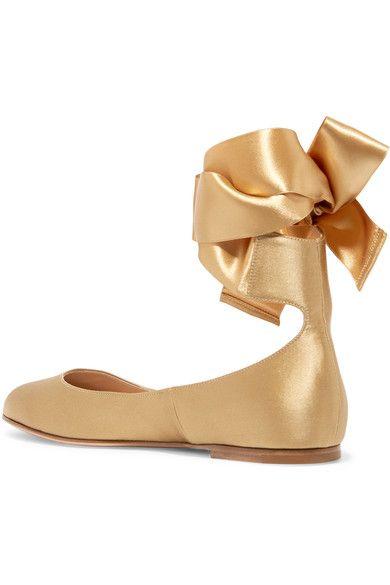Gianvito Rossi - Satin Ballet Flats - Gold - IT40