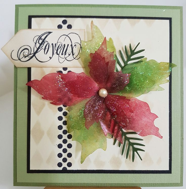 Polka Run 3639H by Penny Black; Joyeux from Christmas set STC-M01 by Delish Designs. Tattered Poinsettia die 658261 by Sizzix; Spruce Stems die CC-182 by Cottage Cutz; Harlequin stencil THS016; Card by Susan of Art Attic Studio