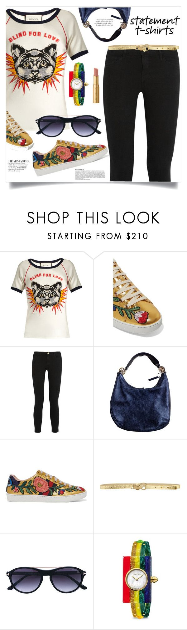 """Slogan T-Shirt"" by spica-caracterielle ❤ liked on Polyvore featuring Gucci, Frame, Anja, Just Cavalli, Tom Ford, Too Faced Cosmetics and slogantshirts"