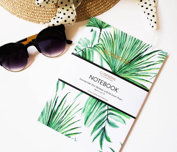 Tropical Palm Tree and Gold Foil A5 Notebook