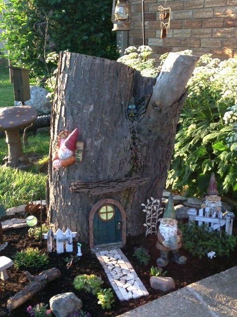 Gnome Garden Good Idea For An Unsightly Stump Garden Pinterest