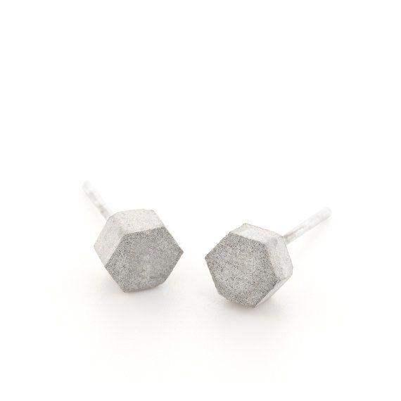 Unisex concrete hexagon stud earrings, by BAARA Jewelry