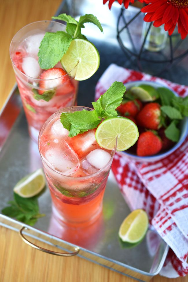 This family-friendly Strawberry No-jito is a great party drink for Canada Day or Fourth of July! Alcohol-free, vegan, full of natural ingredients & delish!