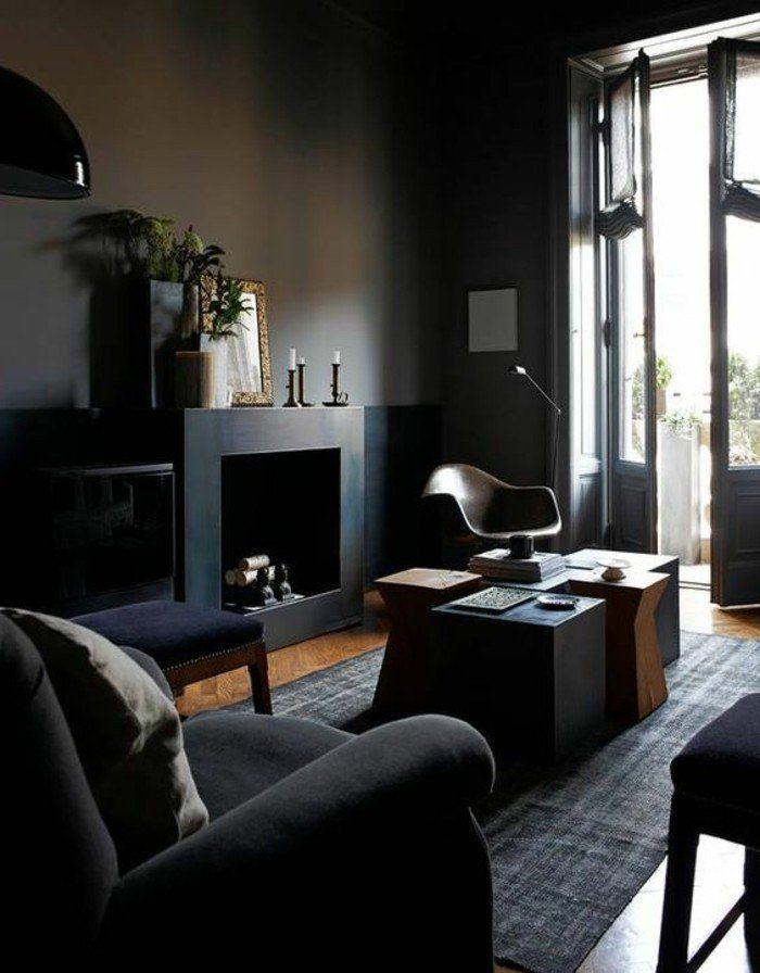 salon moderne gris chemine noire dcorative table modulable style moderne - Salon Moderne Gris