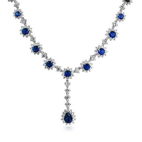 Bling Jewelry Art Deco Flower Crown Set CZ Sapphire Color Necklace