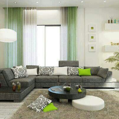 Sala gris verde salas pinterest for Living room pinterest