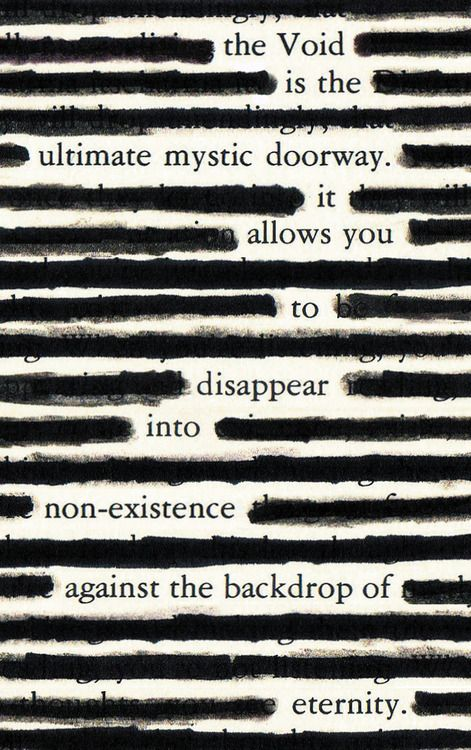 Blackout poetry. Could be used in a poetry lesson. (Image only)