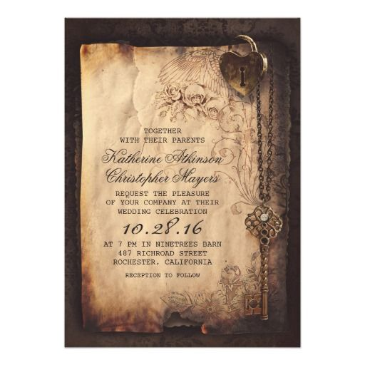 Heart lock and vintage skeleton key wedding invitations. These would look fab tied with ribbon!