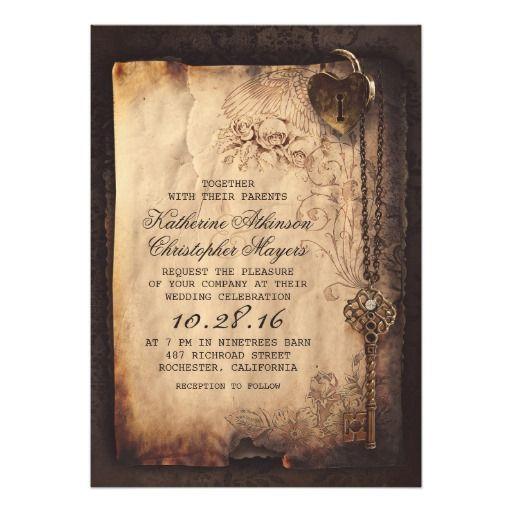 """skeleton key vintage wedding invitations 5"""" x 7"""" invitation card"""