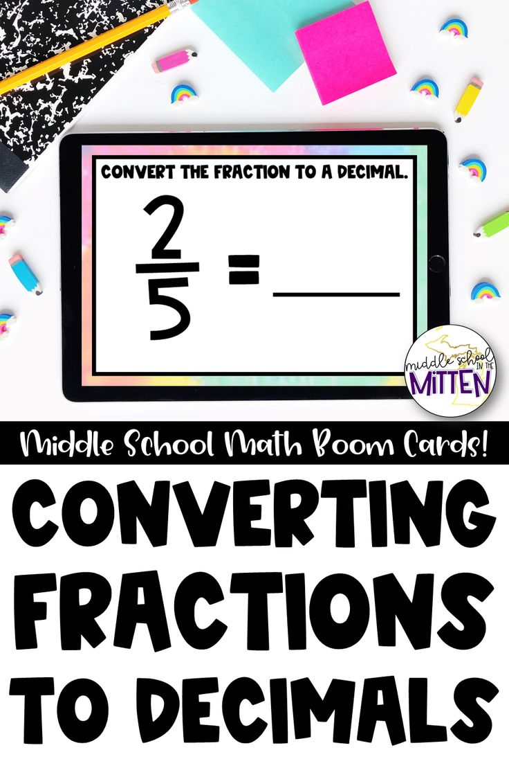 Converting fractions to decimals interactive boom cards