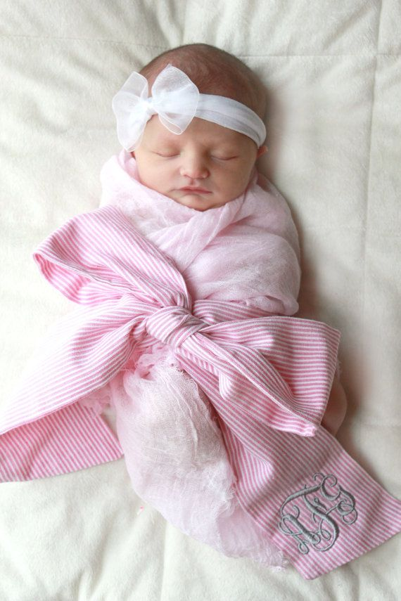 Newborn seersucker swaddle sash with monogram by ...