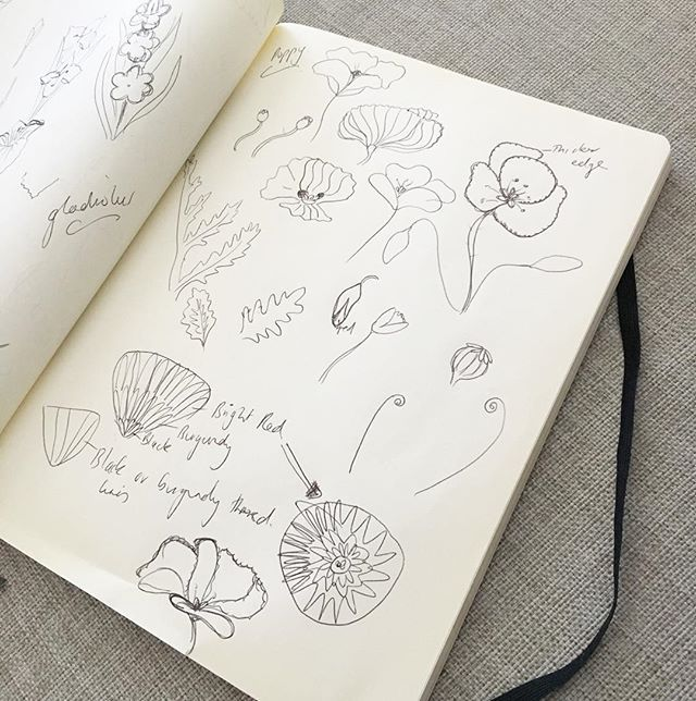 A few rough sketches of poppy flowers before I start my next embroidery hoop design ➰ #poppy #aprilflower #handrawn #sketches #notebook #ideas #embroidery #hoop #design