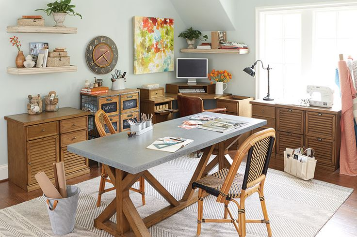 A big old work table (we used a zinc-topped dining table) is the perfect way to create a homework station in your home office, playroom, or basement. There's plenty of space to spread out for science project, craft hour, and book reports!
