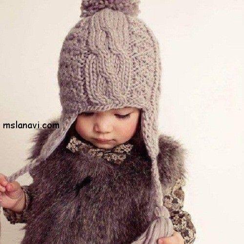 зимняя шапка для девочки спицами
