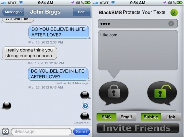 Black SMS #iPhone #App Encrypts Your Texts