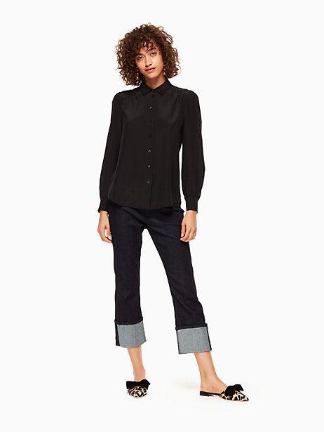 Kate Spade Stripe Tie Front Shirt, Black - Size XS