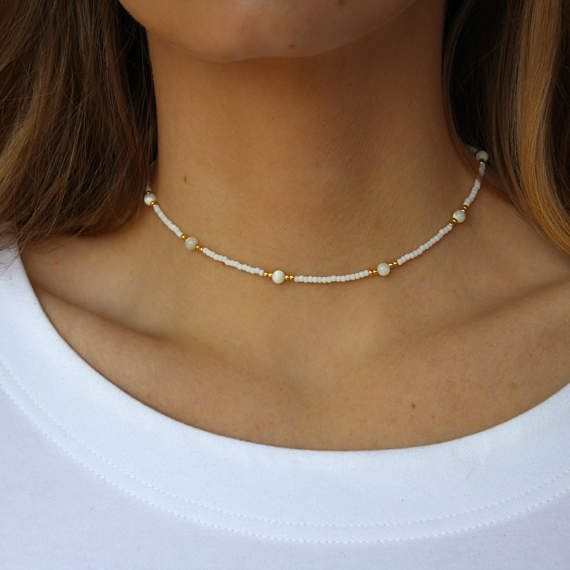 White Beaded Choker, Delicate White Choker Necklace,Beaded White Necklace, White Beads,Gold Beads,Minimal White Choker, Boho Choker,Handmade