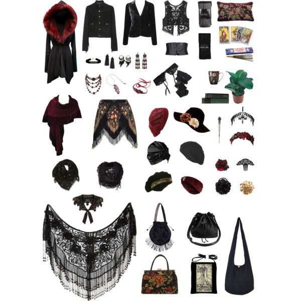 Strega Capsule wardrobe part 2 by archeo-folklorist on Polyvore featuring Current/Elliott, Forever 21, American Rag Cie, Reger by Janet Reger, Nicole Miller, Jonathan Aston, River Island, Krista R, Clips and H&M  --- Again, ideas, not specifics.