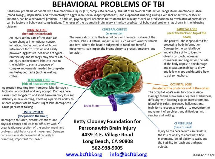 TBI Behavioral Problems Chart -Betty Clooney Center                                                                                                                                                                                 More