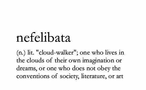 'cloud-walker'; one who lives in the clouds of their own imagination or dreams, or one who does not obey the conventions of society, literature, or art..