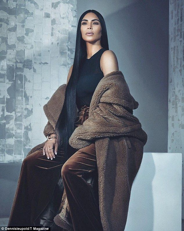 Going high brow! Kim Kardashian wraps up in fur to cover the New York Times' Singapore-based T magazine